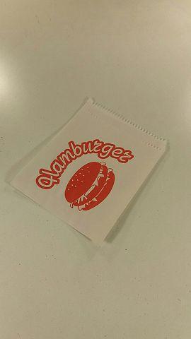 Пакет бумажный для гамбургера 12см 17см белые с надписью 5000 шт