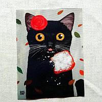 ЧЕРНАЯ КОШКА Рисунок 15*20 см, аппликация, нашивка, тканевая вставка, ткань для творчества и скрапбукинга