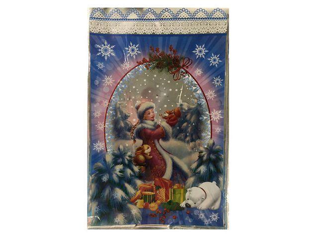 Упаковка для новогодних подарков 25см 40см Снегурочка и белки 100шт