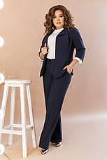 Стильний жіночий костюм з костюмної тканини середньої щільності, №106, темно-синій., фото 2
