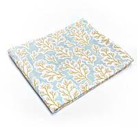 Пеленка муслиновая 100х120 см Большие листки на голубом