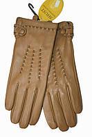 Женские кожаные Коричневые перчатки Shust Средние 11-830, фото 1