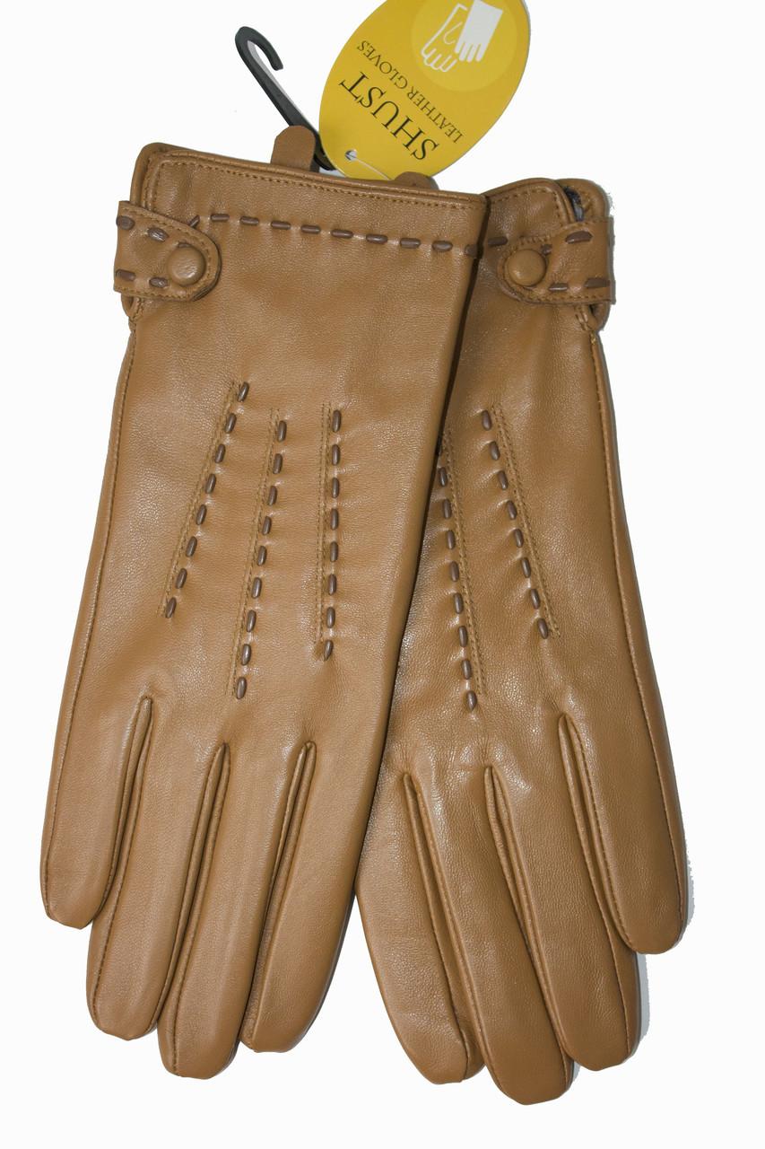Женские кожаные Коричневые перчатки Shust Средние 11-830