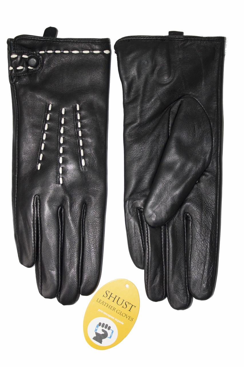 Женские кожаные черные перчатки Сенсорные Большие LYYN-1671s3