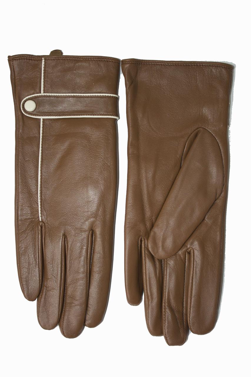 Женские кожаные Коричневые перчатки Shust Средние LYNN-1692s2