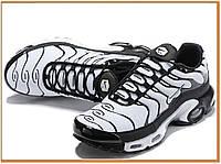 Мужские кроссовки Nike Air Max Tn Plus White Black (найк аир макс тн плюс, белые / черные)