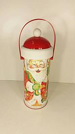 Тубус для конфет малый Дед Мороз и медвежонок