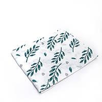 Пеленка муслиновая 100х120 см Листики зеленые