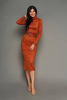 Изящное Облегающее Платье Миди из Замши Кирпичное S-XL