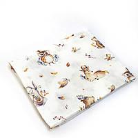 Пеленка муслиновая 100х120 см Животные лесные, фото 1