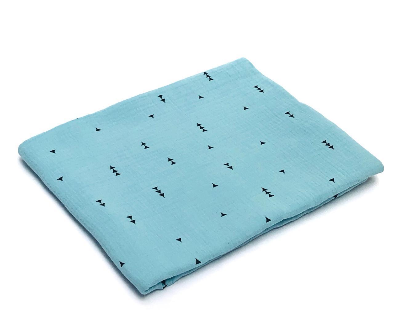 Пеленка муслиновая 100х120 Елочки на голубом
