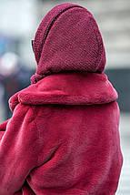 Вязаный капор шапка на флисе с люрексом разных цветов, фото 3