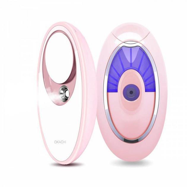 Ультразвуковой увлажнитель для кожи лица портативный ионный спрей Nano mist OKACHI GLIYA c зеркалом