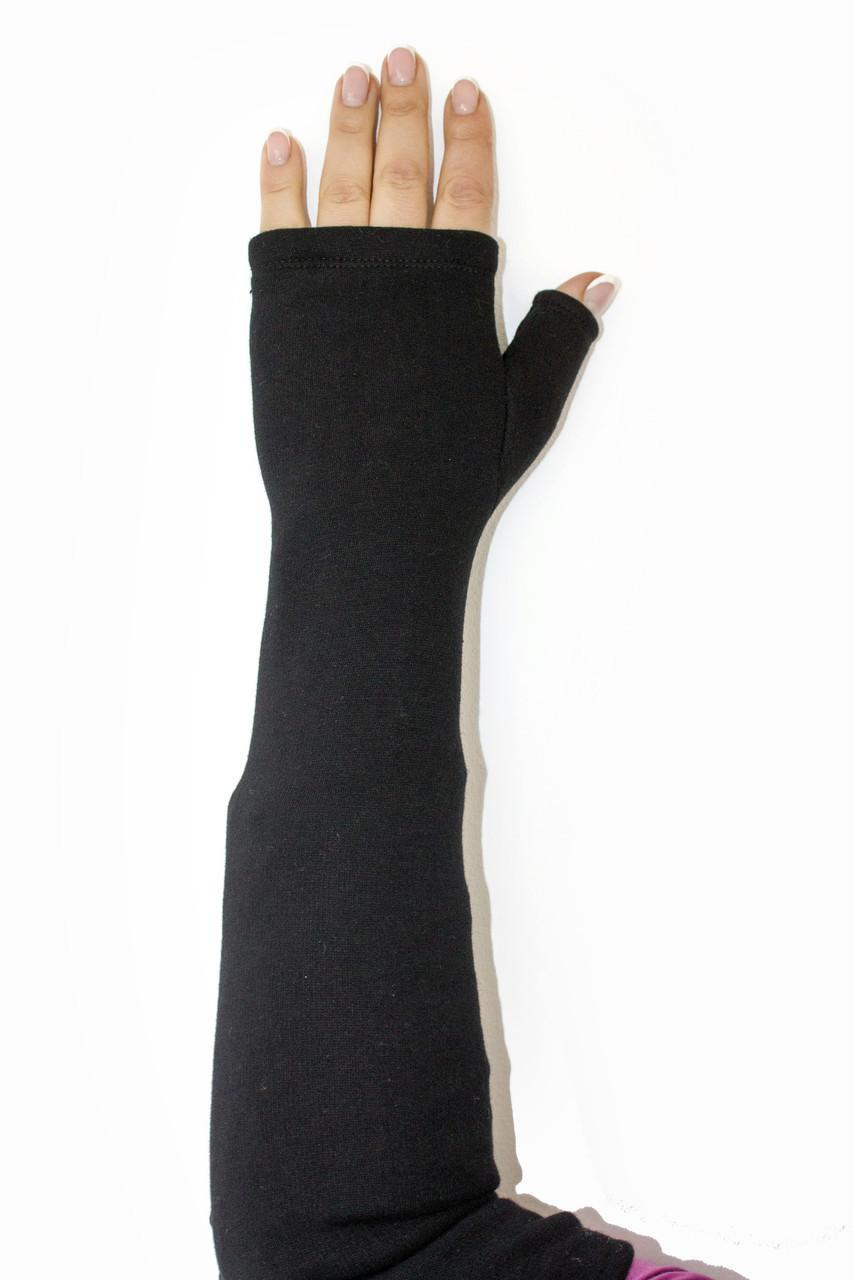 Женские перчатки стрейч без пальцев длинные БОЛЬШИЕ