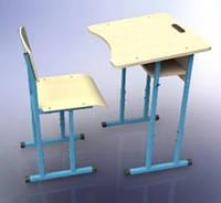 Парта одноместная + стул, С полкой, Регулируемые, комплект НУШ
