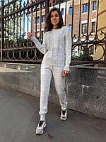 """Стильный женский вязаный костюм """"Венето"""" светло- серый, машинная вязка., фото 1"""
