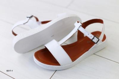 Женские кожаные белые босоножки на низком ходу