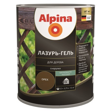 Лазурь для дерева Alpina lasur-gel шелк.-мат. палисандр 2,5л.