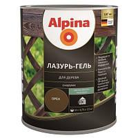 Лазурь для дерева Alpina lasur-gel шелк.-мат. орех 0,75л.