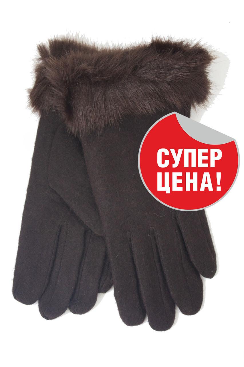 Перчатки трикотажные женские Темно-коричневые