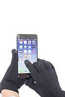 Трикотажные перчатки Корона вязаные Сенсорные7076-1 черные, фото 1