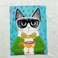КОТ С КОФЕ Рисунок 15*20 см, аппликация, нашивка, тканевая вставка, ткань для творчества и скрапбукинга