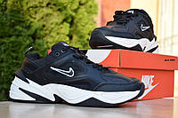 Мужские кроссовки Nike M2K Tekno, кожа, пена, черные с белым.