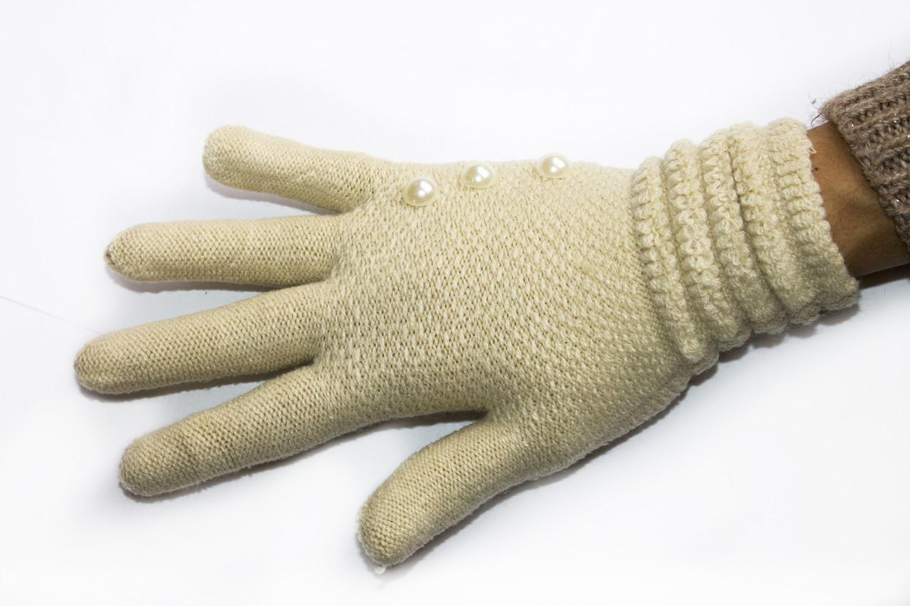 Вязаные перчатки с жемчуженками Бежевый