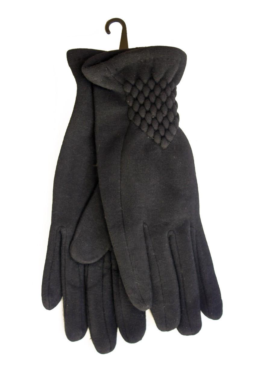 Женские стрейчевые перчатки Черные Маленькие