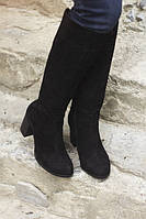 Сапоги Gobaline женские замшевые черные ботфорты на каблуке 36 39 40 41 осень демисезон
