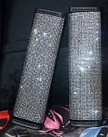 Накладка на ремни безопасности в стразах кристалл, фото 1