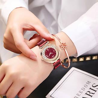 """Жіночі наручні годинники на магнітній застібці """"Yolako"""" (бордовий), фото 2"""