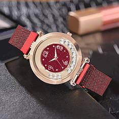 """Жіночі наручні годинники на магнітній застібці """"Yolako"""" (бордовий)"""
