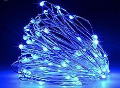 """Гирлянда """"Роса"""" на батарейках, 5 м, синяя,3 режима свечения"""