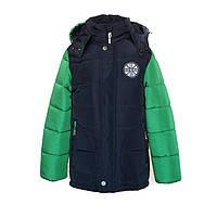 Куртка-ТРАНСФОРМЕР зимняя-демисезонная для мальчика Челси 128,134,140,146см сьемная овчина ЗЕЛЕНАЯ
