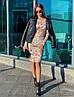 Стильное платье с принтом, ткань:тепленький трикотаж. Размер: С(42-44)М(44-46). Цвет:бежевый. (1213), фото 2