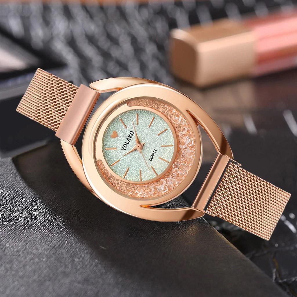 """Женские наручные часы на магнитной застежке """"Yolako"""" (серебристый циферблат)"""