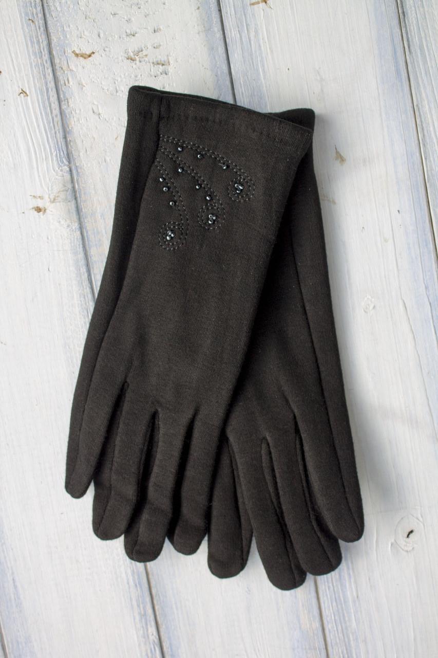 Женские стрейчевые перчатки Черные Средние