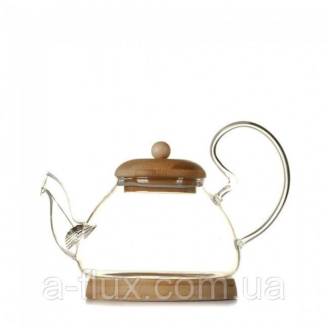 Чайник с крышкой и подставкой из бамбука 700 мл 6818