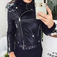 Куртка кожаная женская на меху (фабричный Китай) 653, фото 1