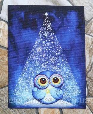 Ткань для творчества и скрапбукинга, рисунок на льне. Сова и новогодняя елкочка. Размер 15*20 см