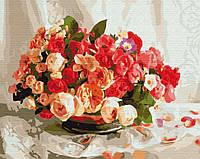 """Картина по номерам. Brushme """"Чайные розы"""" G389"""