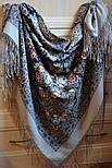 Бенефис 1769-2, павлопосадский платок шерстяной (двуниточная шерсть) с шелковой вязаной бахромой, фото 4
