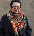 Майя 372-28, павлопосадский платок (шаль) из уплотненной шерсти с шелковой вязанной бахромой, фото 10