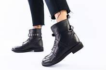 Женские демисезонные кожаные ботинки, черные со шнуровкой и пряжкой,