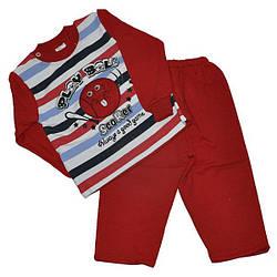 Детский флисовый костюмчик на кнопках, размер  1-2 года (2 ед. в уп.) Краснный
