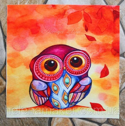 Совушка 20*20 см. Ткань для творчества и скрапбукинга, рисунок на льне для изделий ручной работы.