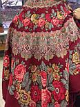 Молитва 353-5, павлопосадский платок шерстяной  с шерстяной бахромой, фото 5