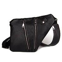 Мужская стильна сумка кобура на плечо Cross Body кожаная (серая). Практичный и удобный клатч для мужчин., фото 1