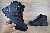 Мужские зимние кроссовки Salomon X ULTRA черные с красным/мех